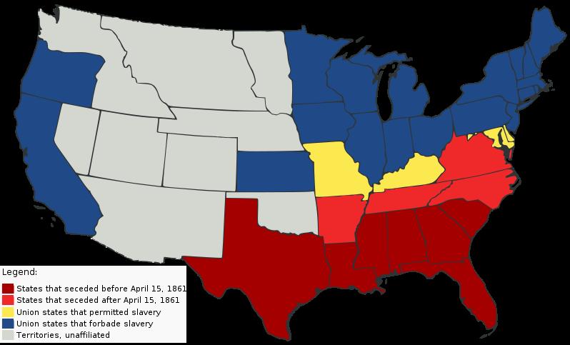 Civil War Union States Map